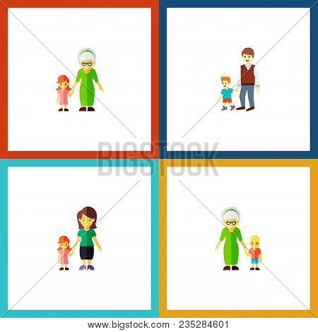 Icon Flat People Set Of Grandson, Gril, Grandma  Objects. Also Includes Family, Grandma, Boy Element
