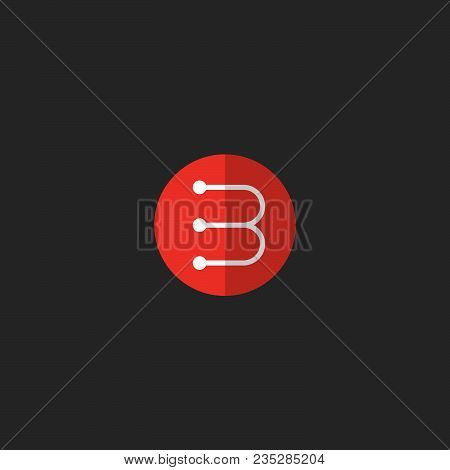 B Icon. B Monogram. A White Linear Letter In A Red Circle With A Shadow.