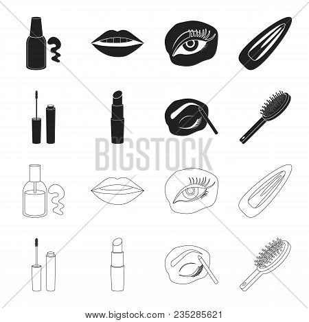 Mascara, Hairbrush, Lipstick, Eyebrow Pencil, Makeup Set Collection Icons In Black, Outline Style Ve