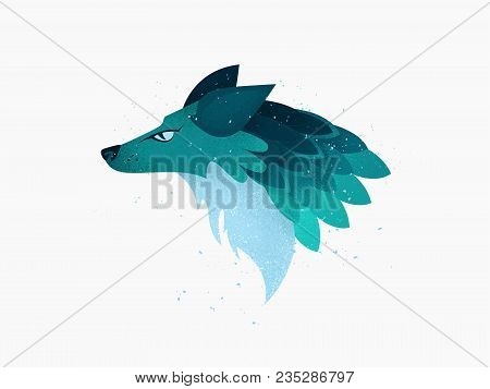 Illustration: A Head Of Imaginary Wolf Or Fox Or Dog Animal In Blue And Turquoise Colors With Shades