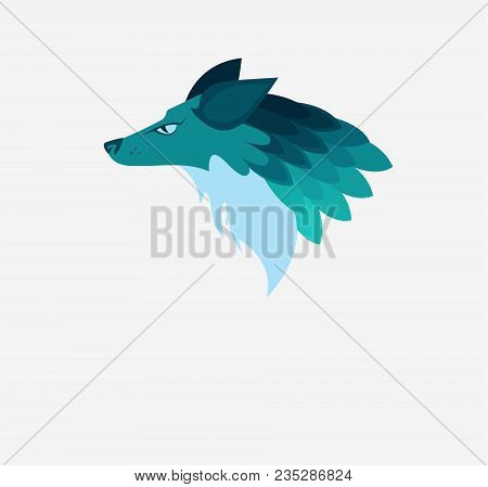 Vector Illustration: A Head Of Phantasy Wolf-like Animal In Blue And Turquoise Colors. White Backgro