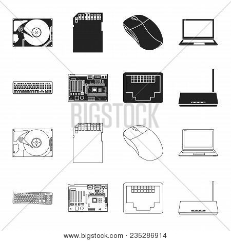 Keyboard, Router, Motherboard And Connector. Personal Computer Set Collection Icons In Black, Outlin