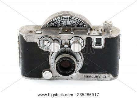 Springfield, Or - April 6, 2018: Mercury Ii 35mm Film Camera Against An Isolated White Background In