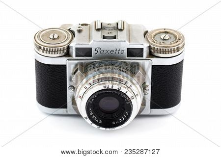 Springfield, Or - April 6, 2018: Paxette 35mm Film Camera Against An Isolated White Background In St