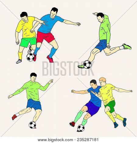 Set Of Soccer Player Kicking Ball In Motion. Vector Illustration.