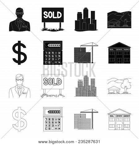 Calculator, Dollar Sign, New Building, Real Estate Offices. Realtor Set Collection Icons In Black, O
