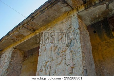 Ancient Mayan Carved Relief With In Temple Ruins. The Famous Archaeological Complex. Mayan Ruins In