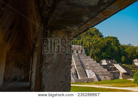 Palenque, Chiapas, Mexico: Archaeological Area With Ruins, Temples And Pyramids In The Ancient City