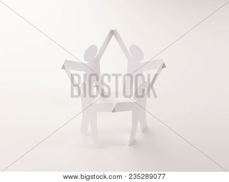 Closed Joining Of Four  Paper Figure In Hand Up Posture On Bright White Background. In Concept Of Bu