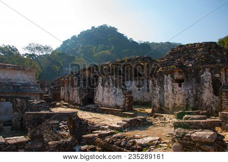 Palenque, Chiapas, Mexico: Archaeological Site With Mountains In The Background. Landscape Of The An