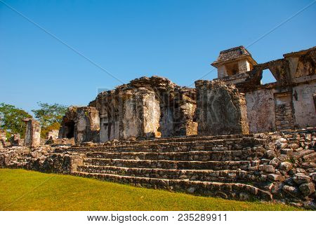 Palenque, Chiapas, Mexico: The Palace, One Of The Mayan Buiding Ruins In Palenque. Palenque Was Decl