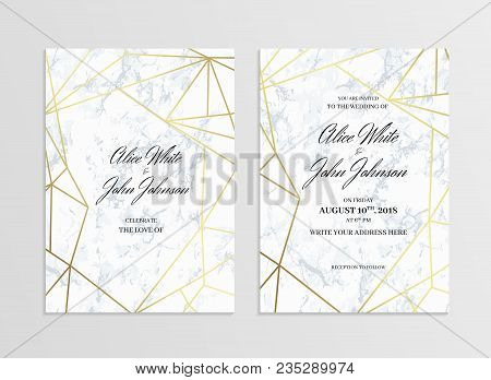Invitation Card Template Of Geometric Design. Two Side. Invitation To A Wedding Party. White Marble