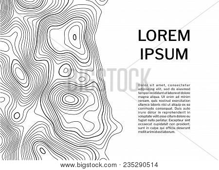 Topographic Contour Map Background Concept With Space For Your Text. Vector Illustration On White Ba