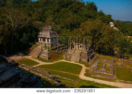 Ancient Mayan City, Archaeological Complex With Ruins, Palace, Temples, Pyramids. Palenque Ruins Chi