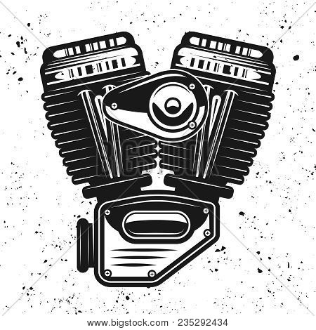 Motorcycle Engine, V-twin Motor Vector Black Illustration Isolated On Background With Removable Grun