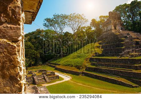 Palenque, Mexico: Huge Ancient Pyramid With Steps In The Archaeological Complex. Palenque Was Declar