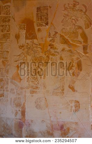 Palenque, Chiapas, Mexico. Ancient Mayan Carved Relief With In Temple Ruins. The Famous Archaeologic