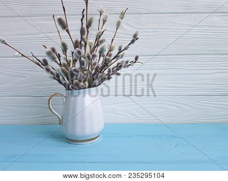 Willow Vase On A Wooden Catkins, Event, Holiday