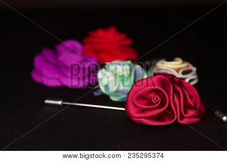 Assorted Flower Men's Lapel Pin On Black Textured Matt Assorted
