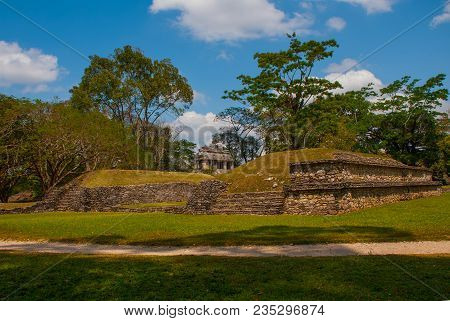 Palenque, Chiapas, Mexico: Mayan Ruins Taken Over By Lush Jungle. Ancient Mayan City.