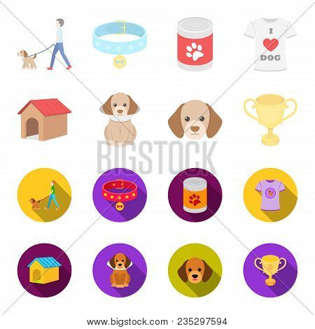 Dog House, Protective Collar, Dog Muzzle, Cup. Dog Set Collection Icons In Cartoon, Flat Style Vecto