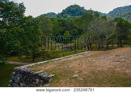 Palenque, Chiapas, Mexico. Top View Of The Jungle And The Ancient Mayan City.