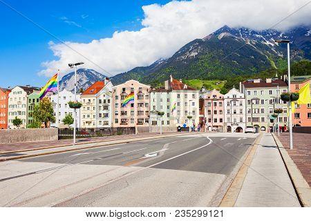 Innsbruck Bridge Through The Inn River. Innsbruck Is The Capital City Of Tyrol In Western Austria.