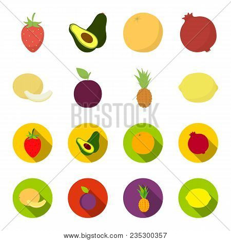 Melon, Plum, Pineapple, Lemon.fruits Set Collection Icons In Cartoon, Flat Style Vector Symbol Stock