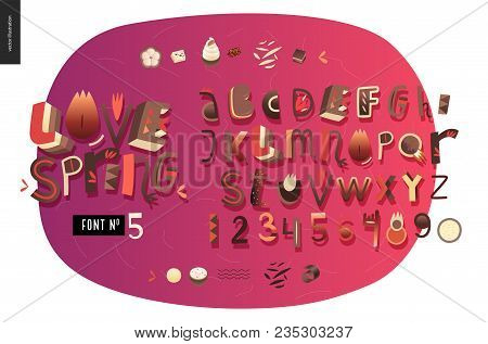 Kids Flat Alphabet Set - Love Spring Latin Font - Letters And Digits
