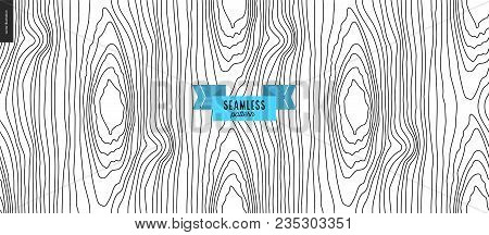 Hand Drawn Wood Black And White Pattern. Vector Seamless Pattern. Abstract Background With Wooden An
