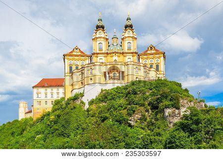 Melk Abbey Monastery Or Stift Melk Is A Benedictine Abbey In Melk, Austria. Melk Abbey Monastery Loc