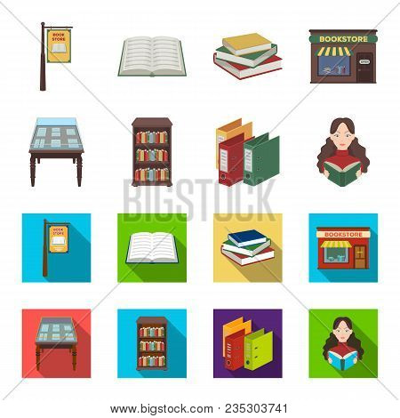 Library And Bookstore Cartoon, Flat Icons In Set Collection For Design. Books And Furnishings Vector