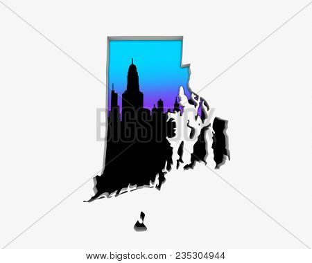 Rhode Island RI Skyline City Metropolitan Area Nightlife 3d Illustration