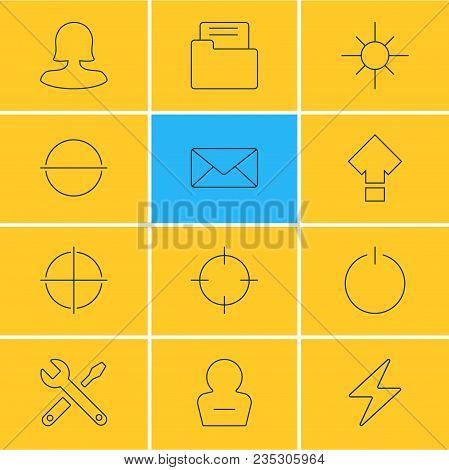 Vector Illustration Of 12 Interface Icons Line Style. Editable Set Of Screenshot, Lightning, Woman M