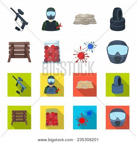 Wooden Barricade, Protective Mask And Other Accessories. Paintball Single Icon In Cartoon, Flat Styl