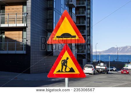 An Icelandic Construction Sign Warning Drivers Of Potential Hazards