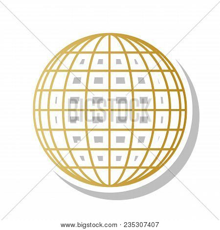 Earth Globe Sign. Vector. Golden Gradient Icon With White Contour And Rotated Gray Shadow At White B