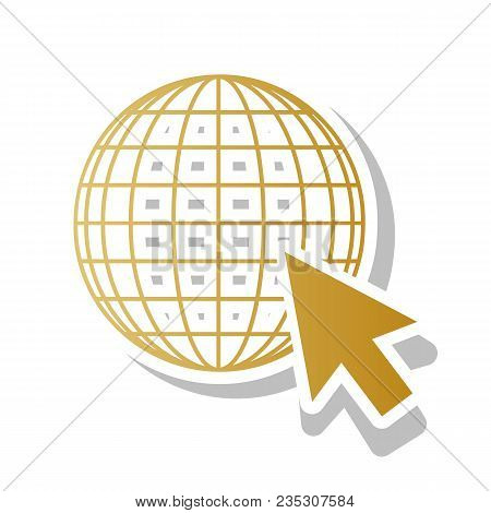 Earth Globe With Cursor. Vector. Golden Gradient Icon With White Contour And Rotated Gray Shadow At