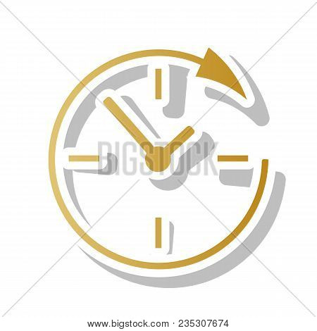 Service And Support For Customers Around The Clock And 24 Hours. Vector. Golden Gradient Icon With W