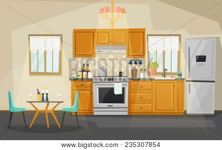 Kitchen Interior View, Room With Kettle On Stove Or Oven, Exhaust Hood Or Fan, Table With Candles An