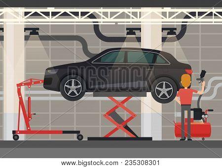 Car At Hydraulic Scissor Lifting Platform. Mechanic At Garage Or Vehicle Repair Station. Automobile
