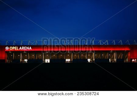 Mainz, Germany - April 01, 2018: The Brightly Lit Opel Arena Of The Football Club 1. Fsv Mainz 05 On