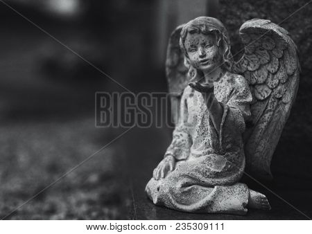 Gothic Angel Statue In A Cemetery In Black And White.