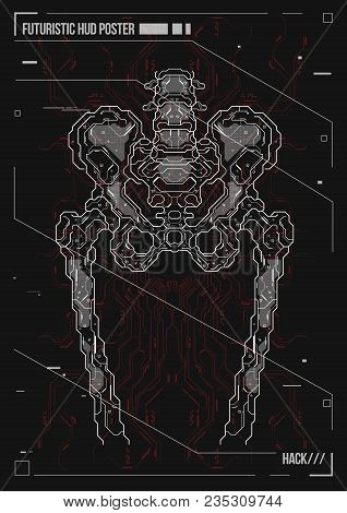 Cover Or Poster Design Human Body With Futuristic Hud Elements. Hologram Human Anatomy And Skeleton.