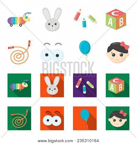 Children Toy Cartoon, Flat Icons In Set Collection For Design. Game And Bauble Vector Symbol Stock I