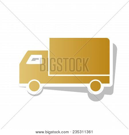 Delivery Sign Illustration. Vector. Golden Gradient Icon With White Contour And Rotated Gray Shadow