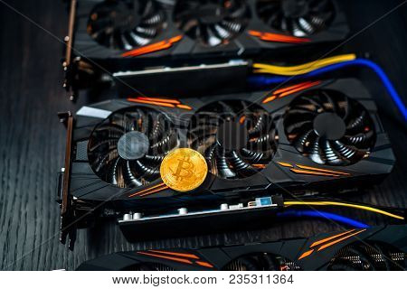 Close Up Details Of Modern Mining Business With Gpu, Graphics Cards Used For Creating Bitcoin Digita