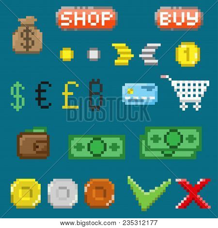 A Set Of Pixel Elements. Denominations, Coins And Symbols. For Games And Mobile Applications.