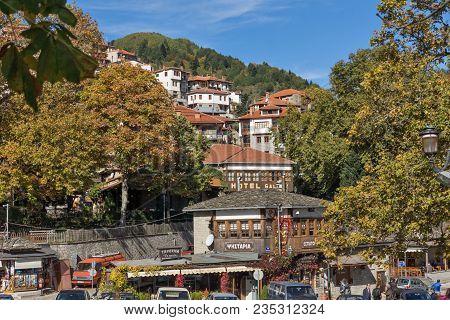 Metsovo, Epirus, Greece - October 19, 2013: Autumn View Of Village Of Metsovo Near City Of Ioannina,