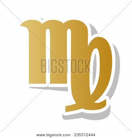Virgo Sign Illustration. Vector. Golden Gradient Icon With White Contour And Rotated Gray Shadow At